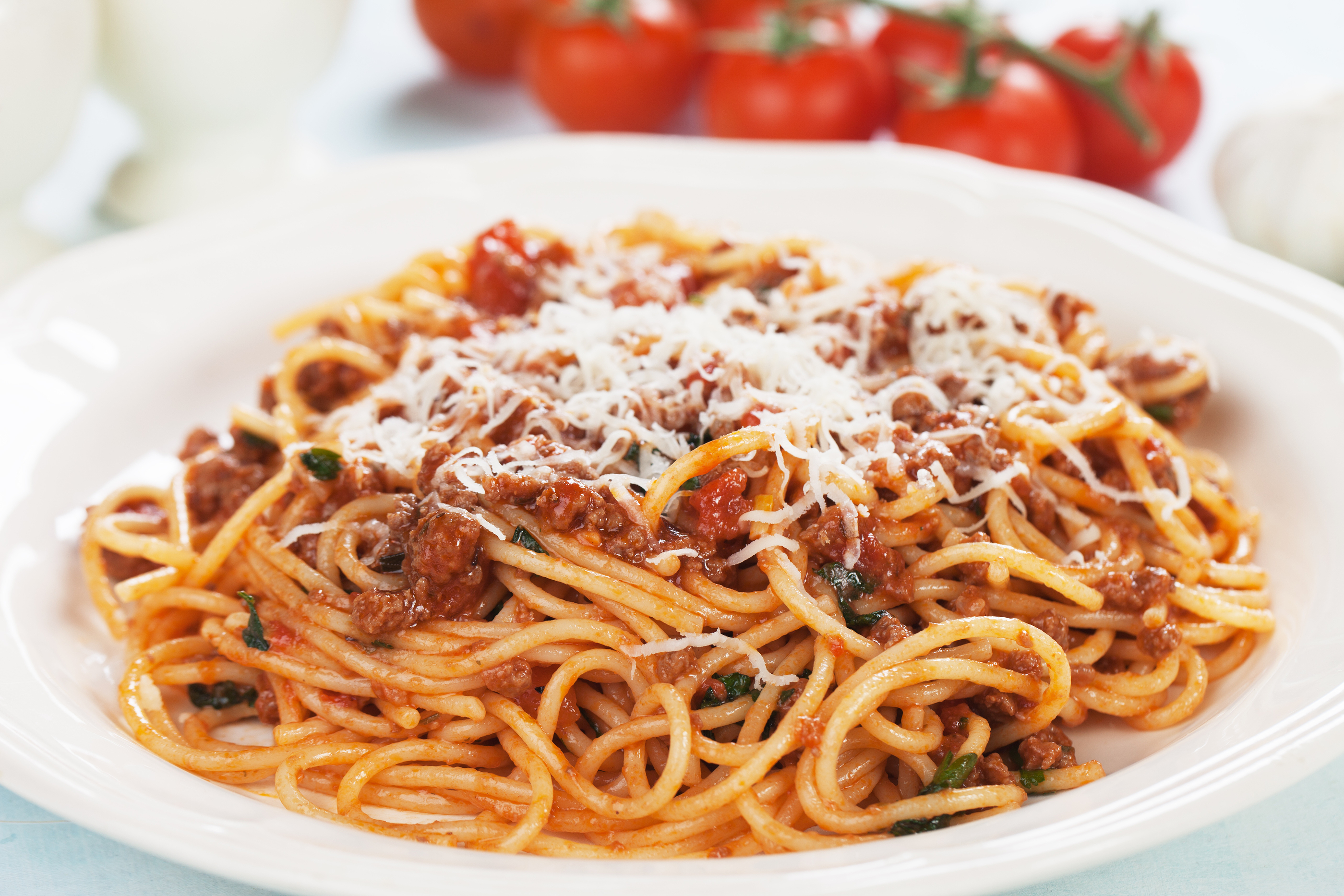 Italian spaghetti pasta in ground beef and tomato sauce bolognes