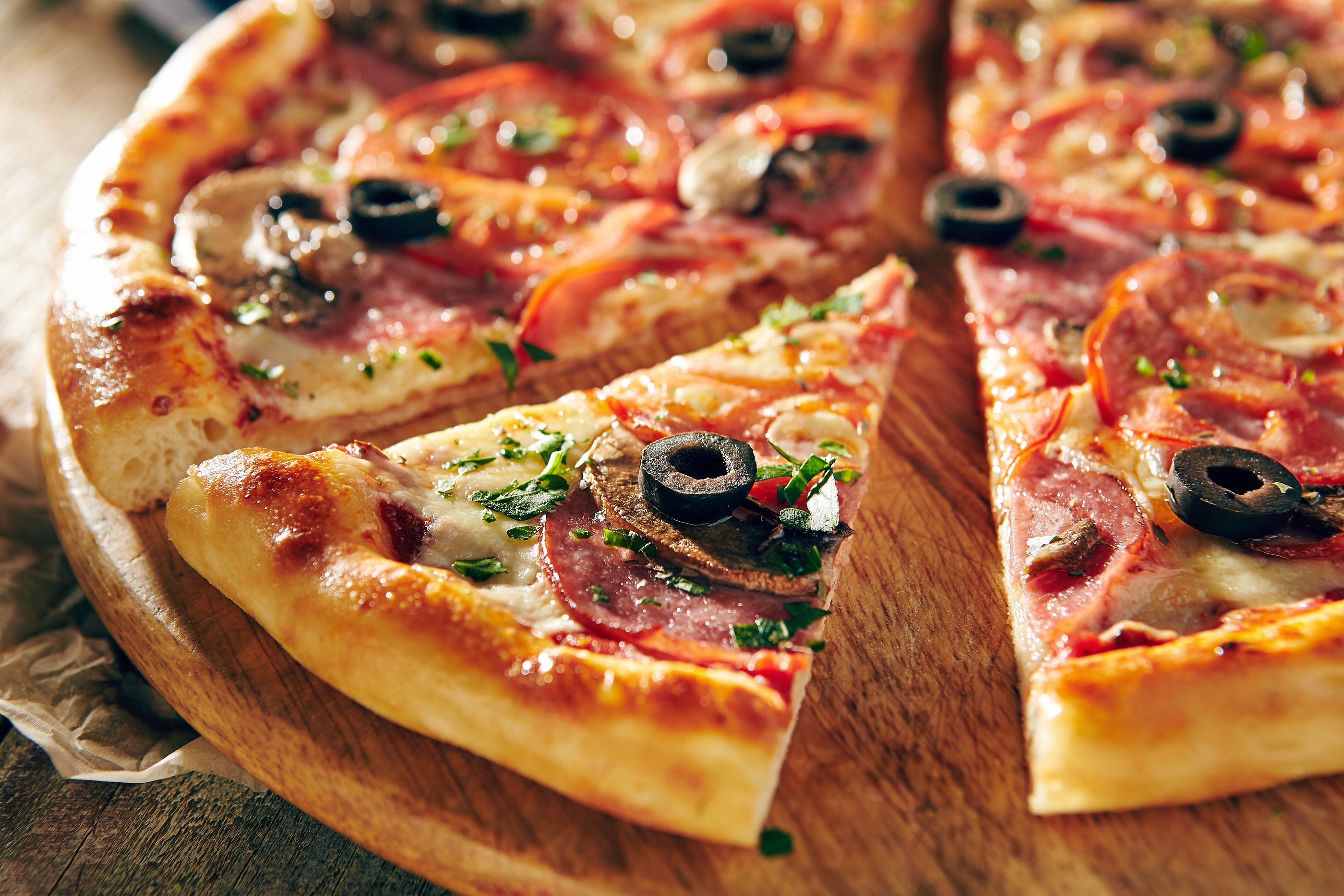 Pizza Restaurant Menu - Delicious Fresh Pizza with Sausages, Tom